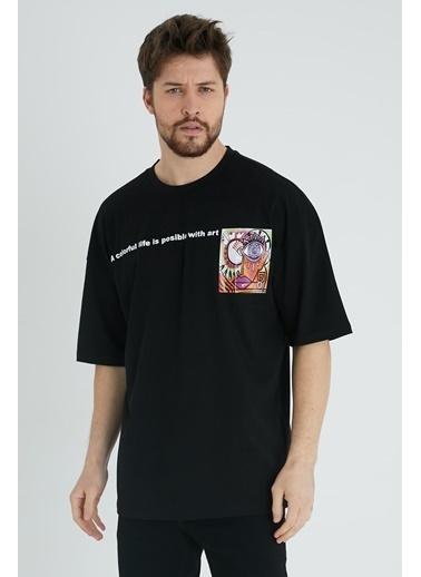 XHAN Taş Rengi Baskılı Oversize T-Shirt 1Kxe1-44640-56 Siyah